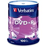 Verbatim DVD+R 4.7GB 16x AZO Recordable Media Disc - 100 Disc Spindle (FFP) - 97459, Branded, 100pk Spindle FFP