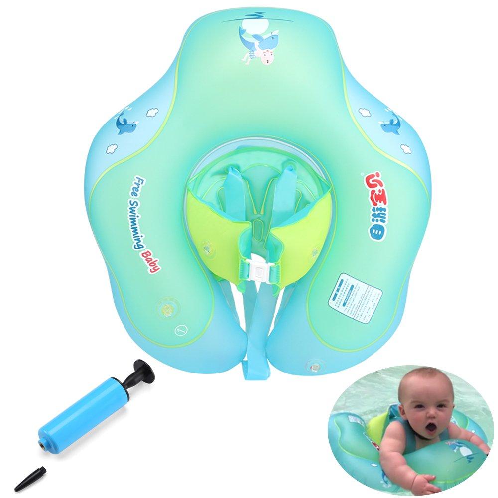 GEYUEYA Home Kleinkind Kinder Schwimmender Schwimmen Ring mit Pumpe Aufblasbarer Baby Schwimmring Baby Schwimmhilfe Schwimmsitz f/ür 0-3 Jahre altes Baby blau