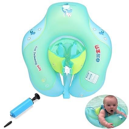 KuanGuang Flotador hinchable para bebé, flotador hinchable para natación con bomba de barco, entrenador