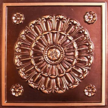 Faux Tin Antique Copper 151 Decorative Plastic Drop in Ceiling Tiles Can Be Glue on Any Clean Smooth Flat Surface, Also Can Glud Over Popcorn 24 x 24 with Overlaping Edges Ul Rated.