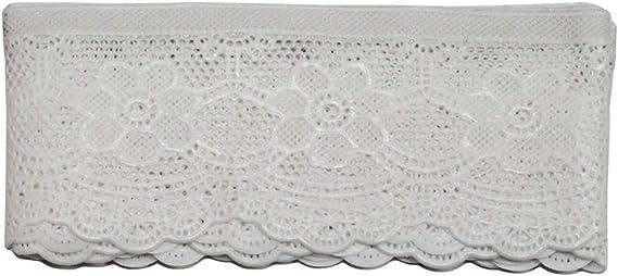 Acan Cenefa Decorativa de puntilla Adhesiva con Bordados Blancos 5 ...