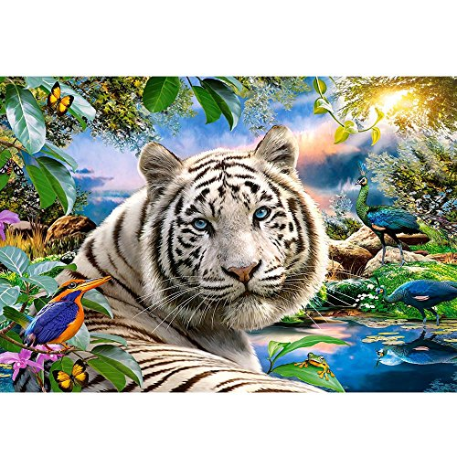 - Smdoxi DIY 5D Diamond Painting by Number Kits, Home Wall Livingroom Bedroom Decor Tiger with Gentle Eyes Bird Peacock Frog Lake Peace Nature (Multicolor)