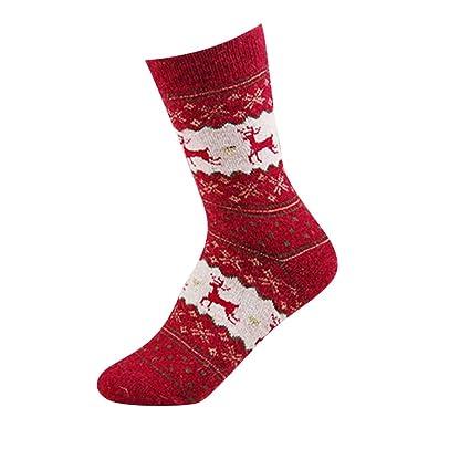 Oudan 10 pares,Mujer Calcetines Cortos,Dibujo de Ciervo,Estilo Lindo de Navidad