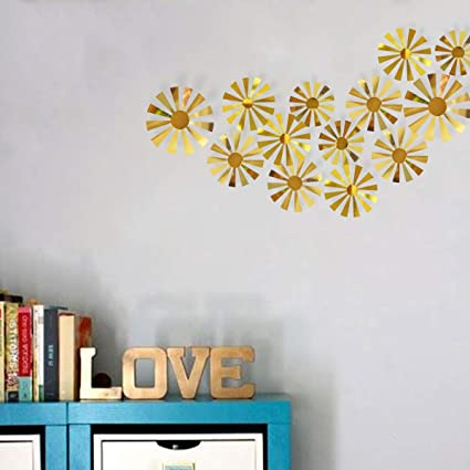 Amazon.com: PinkBlume 3D Gold Flower Wall Decals,Metallic Paper Wall ...