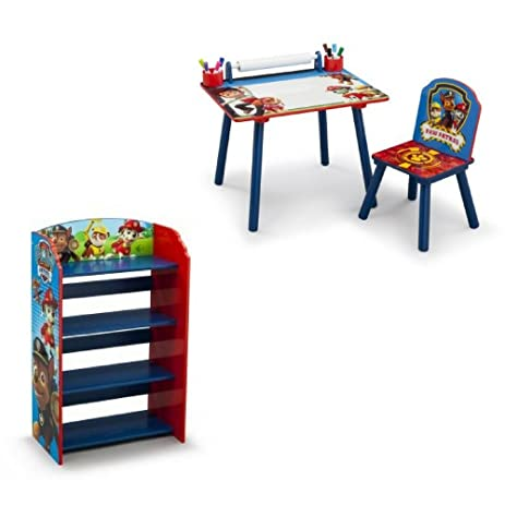 Paw Patrol Art Desk With Chair And Nickelodeon Bookshelf