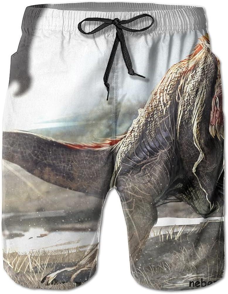 LUASD Mens Big Animal Dinosaur Quick Drying Moisture Perspiration Short Pants Swim Trunks
