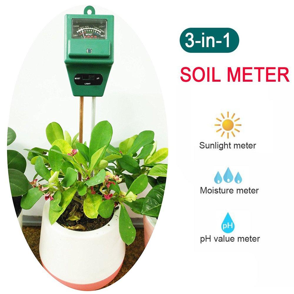 Soil PH Meter, 3-in-1 Plant Moisture, Light & PH Tester for Indoors&Outdoors Gardening Tool
