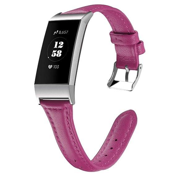 para la Fitbit Charge 3 reemplazo SmartWatch Correas de Cuero auténticas Correas de Reloj con Adaptador de Metal de Color púrpura: Amazon.es: Relojes