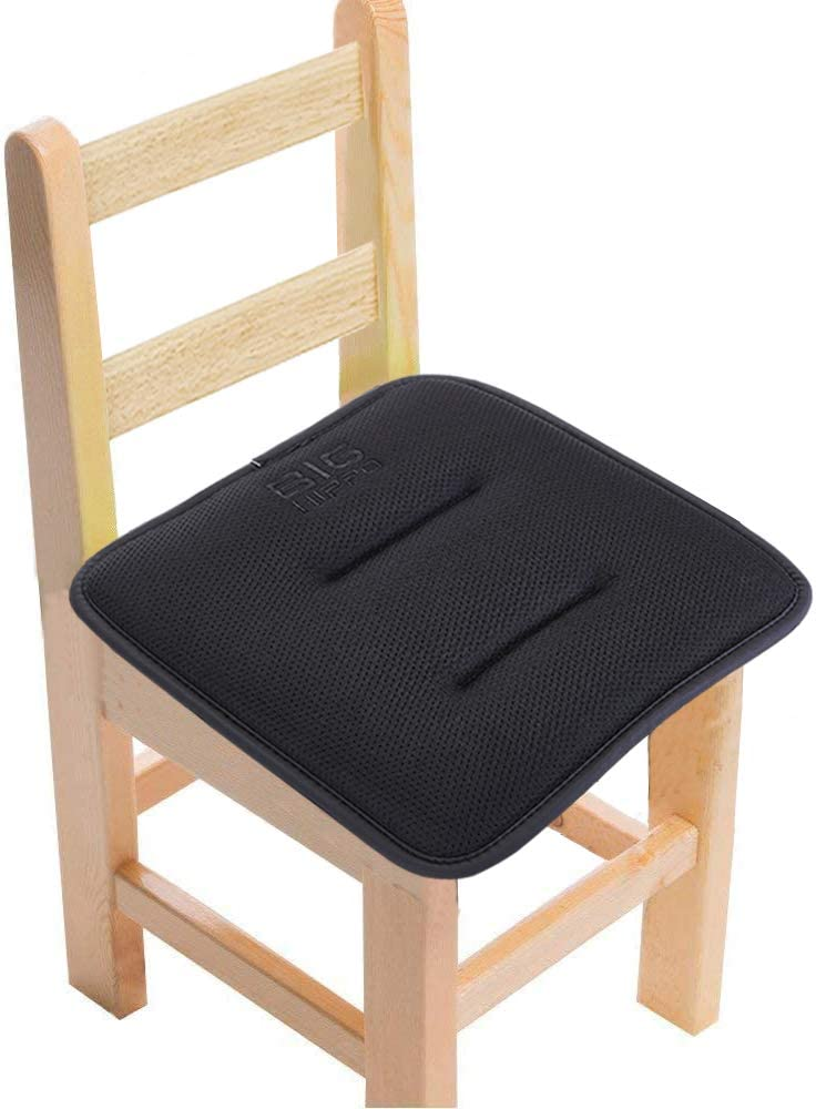 """Big Hippo Kids Chair Pads with Ties Sandwich Mesh Fabric Chair Cushion Nonslip Rubber Back Square Seat Cushion Memory Foam Pads for Dining,Home,Patio,12""""x12""""(Black, 1 Pack)"""
