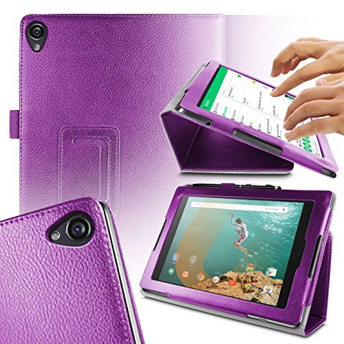 Orzly - TABLET STAND CASE for NEXUS 9 with AUTO SLEEP SENSORS - Tablet Case in PURPLE with Built-In Magnetic Lid for Secure Fastening & Integrated Sleep Sensors ( for Automatic Sleep / Wake / Standby functionality ) - Custom Built to fit the Google / HTC NEXUS 9 Tablet (2014 Version / 9 inch screen Model - Fits both Original Model and also 3G / LTE Versions ) (Orzly Slim Rim Case)