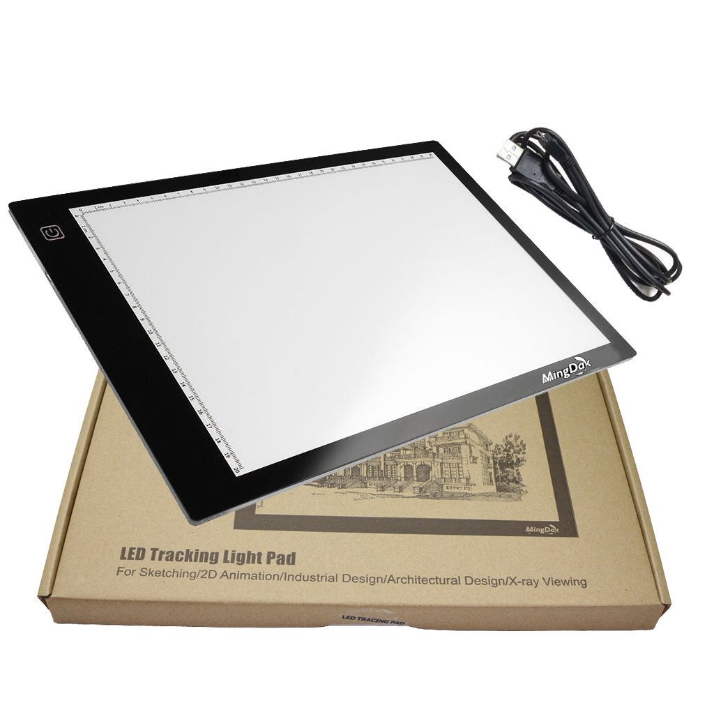 Mingdak A4 USB Power LED Light Box Tracer Ultra-thin Portable, LED Artcraft Tracing Light Pad Light Board Brightness Dimmable for Artists Drawing Sketching Animation Designing X-ray Viewing