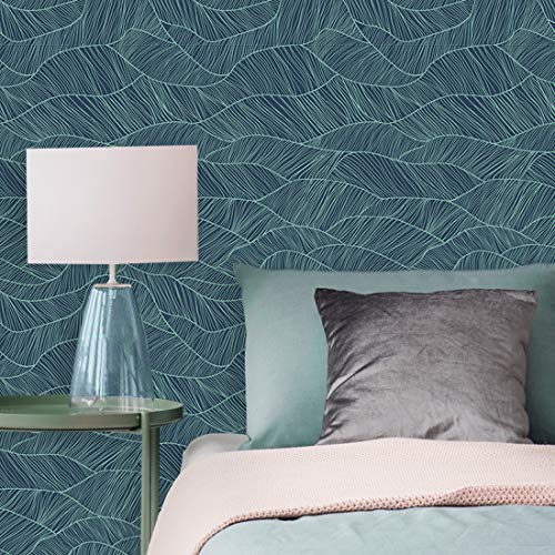 (Flipside Green and Blue Leaf Pattern Removable Pre-Pasted Wallpaper - Each Roll is 18 ft. Long x 18 in. Wide - Safe for Walls - Easy to Apply & Extremely Easy to Remove)