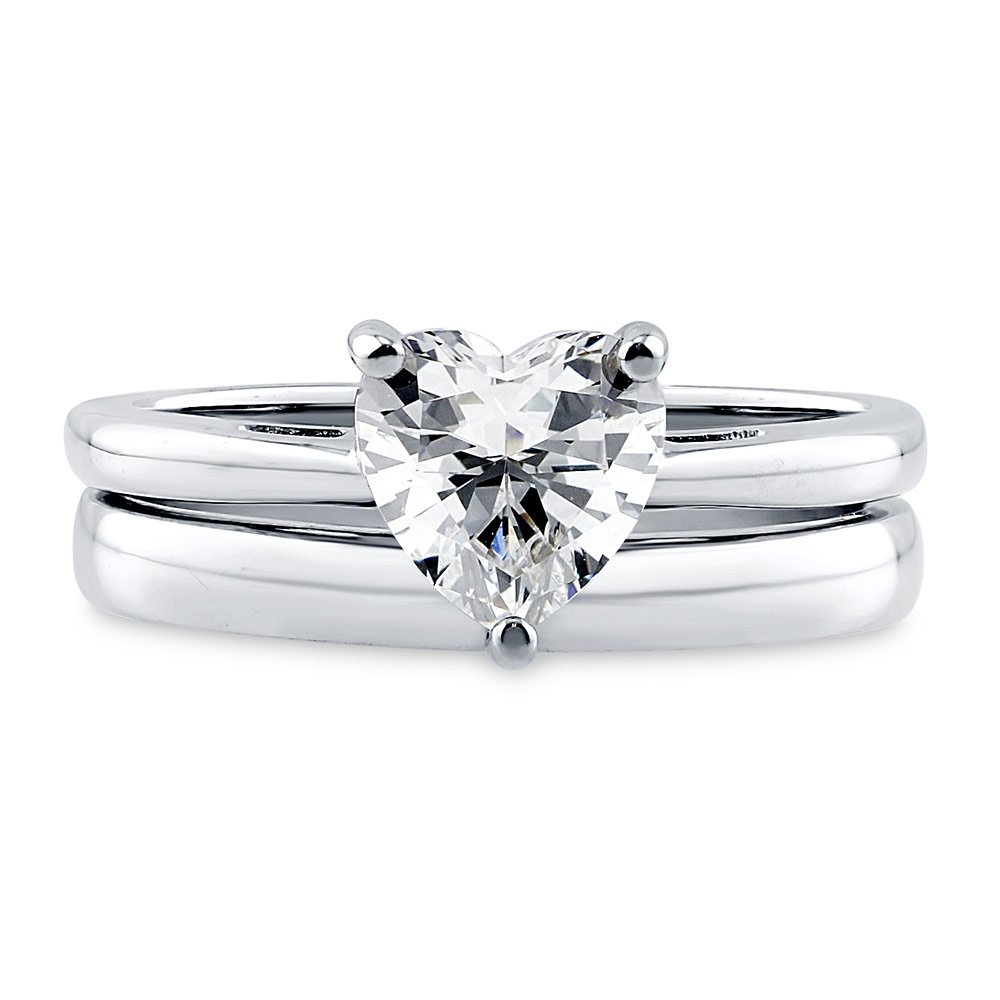 BERRICLE Rhodium Plated Sterling Silver Cubic Zirconia CZ Heart Solitaire Engagement Ring Set Size 8 by BERRICLE (Image #2)