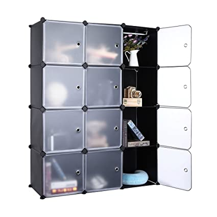 Robolife DIY Closet Organizer Cabinet Shelving Disassembly Transparent Door  Wardrobe For Clothes, Shoes, Toys