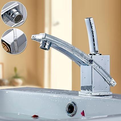 Auralum®Crystal fregadero grifo,Grifo de lavabo,Cascada Grifo,Grifo ...