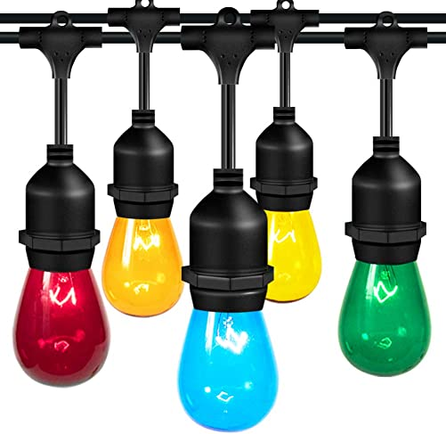 addlon 2 Pack Colored Outdoor String Lights 48FT with Colorful Edison Vintage Bulbs – UL Listed Heavy-Duty Decorative Caf Patio Lights Market Porch Lights