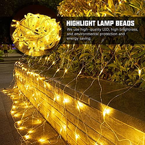 160 LED Lichternetz 2x2m, Warmweiß Lichterkette Netz mit Fernbedienung Timer, 8 Modi Lichterkettennetz Innen und Außen Deko Lichtketten Lichtervorhang mit Stecker für Zimmer Weihnachten Party Hochzeit
