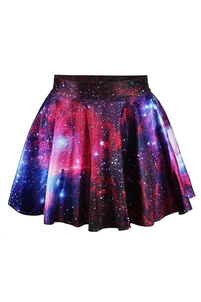 e370344af Cfanny - Minifalda con estampado de galaxia multicolor multicolor ...