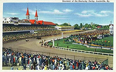 Louisville, Kentucky - Souvenir of the Kentucky Derby; Race Scene (12x18 Collectible Art Print, Wall Decor Travel Poster)