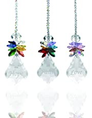H&D Glass Crystal Rainbow Angel Ornament Chakra Hanging Suncatcher Window Sun Cactwith Baroque Maple Leaf Pendant for Gift, Pack of 3