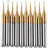 10pcs Tungsten Carbide End Mill Titanium Coat Milling Cutter Engraving Bits Rotary Burrs Set (3.175mmx0.6mm)