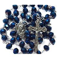 Tienda Nazareth Granos de cristal azul profundo Rosario Collar católico Medalla de tierra santa Crucifijo Bolsa de terciopelo