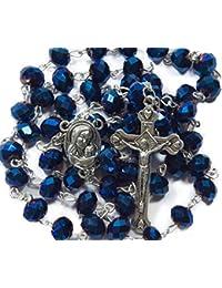 Deep Blue Crystal Beads Rosary Catholic Necklace Holy Soil Medal & Crucifix Nazareth Store Velvet Gift Bag