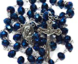 Nazareth Store Deep Blue Crystal Beads Rosary Catholic Necklace Holy Soil Medal & Crucifix Velvet Gift Bag