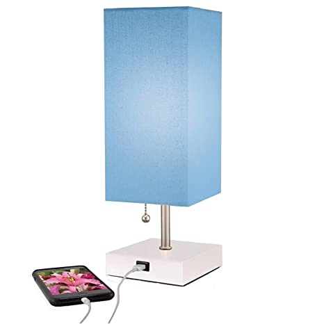 Modern Small Table Lamp w USB Quick Charging Port, Blue, Great LED Lamp,  Bedside Lamp, LED Desk Lamp, Bedroom Lamps, Table Light, Nightstand Lamp,  ...