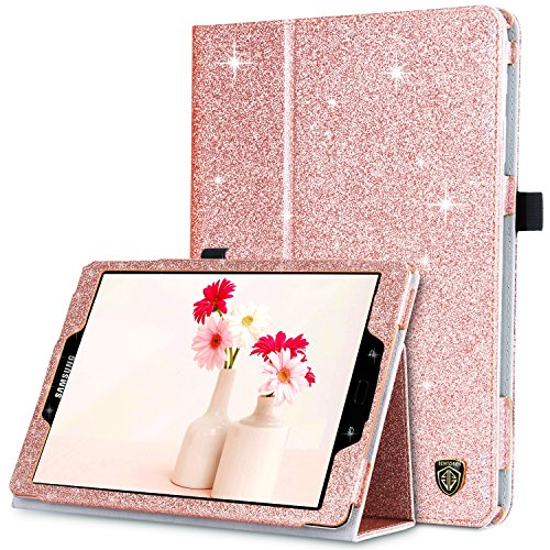 Samsung Galaxy Tab S3/S2 9.7 Case, BENTOBEN Glitter Sparkle Slim Lightweight Auto Sleep/Wake Multiple Viewing Angles Smart Cover Stand Folio Case for Samsung Tab S3/S2 9.7 (SM-T820/T825), Rose Gold