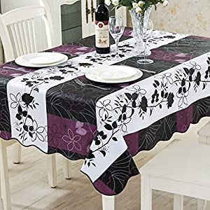 ColorBird Country Style Floral Flannel Backed PVC Tablecloth Easy Care Oilproof Table Cover for Kitchen Dinning Tabletop Decor