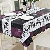 ColorBird Country Style Floral Flannel Backed PVC Tablecloth Easy Care Oilproof Table Cover for Kitchen Dinning Tabletop Decor (Rectangle/Oblong, 54