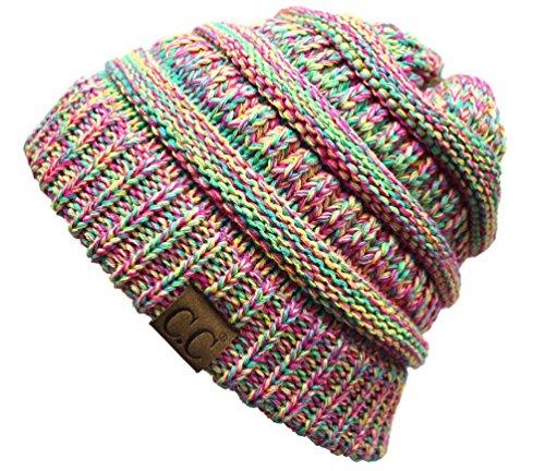 H-6800-816.41 Four Tone Marled Beanie - Rainbow (Funky Knit Beanie Hat)