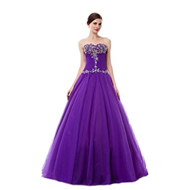 MLT Womens A Line Ball Gown Prom Dresses Purple ...
