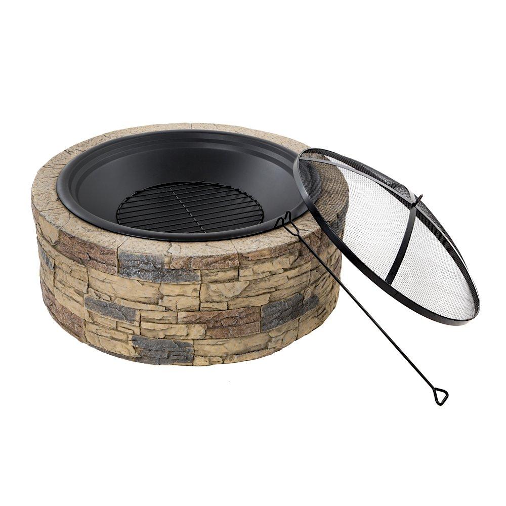 amazon com sun joe sjfp35 stn cast stone fire pit 35 inch