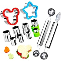 Fruit Vegetable Cutter Shapes Set, Mini Pie and Cookie Stamps Mold(8 pcs) with Melon Baller Scoop & Carving Knife…