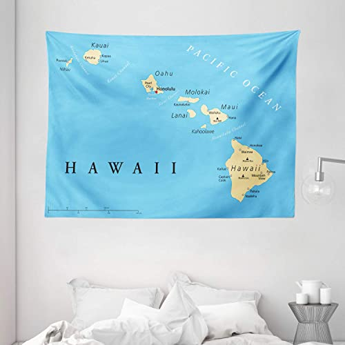 Ambesonne Hawaiian Tapestry, Map of Hawaii Islands with Capital Honolulu Borders and Important Cities, Wide Wall Hanging for Bedroom Living Room Dorm, 80 X 60 , Black Ivory