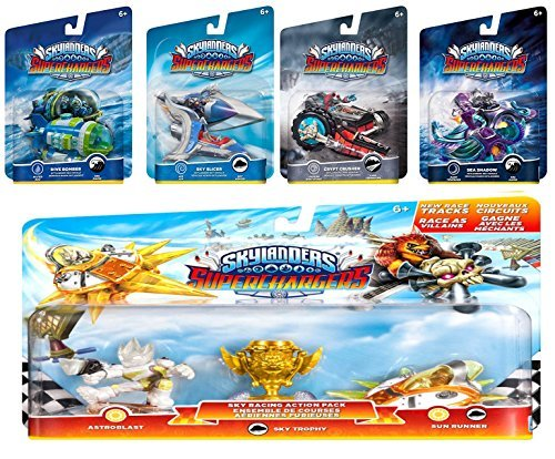Skylanders SuperChargers 5 Pack Vehicle Starter Bundle! 5 Vehicles, 1 Trophy, 1 Character: Crypt Crusher, Sea Shadow, Sky Slicer, Dive Bomber, and Sky Racing Action Sun Runner, Astroblast, Sky ()