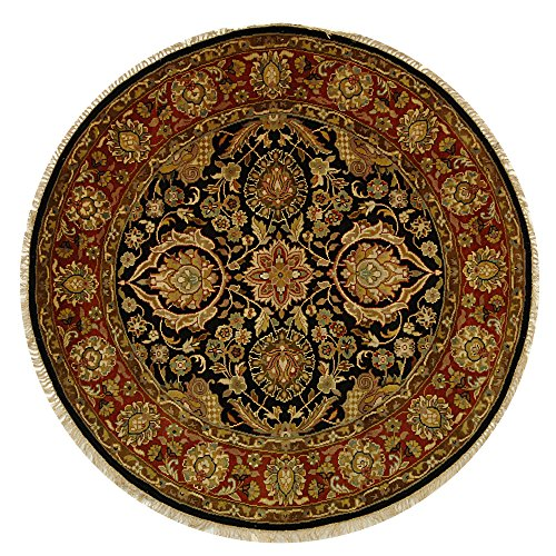 Safavieh Dynasty Collection DY250A Hand-Knotted Black and Red Premium Wool Round Area Rug (6' Diameter)