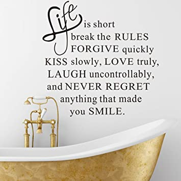 Soledi Life Is Short Inspirational Quotes Wall Decal Sticker Living Room Bedroom Wall Mural Vinyl Removable Diy Art Wall Decor Quote Words Letters Black Color Amazon In Home Kitchen