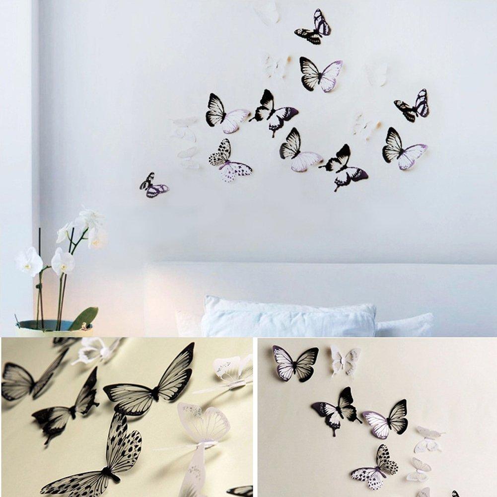 Attraktiv Wandtattoo Auf Rauputz Galerie Von Haimoburg 36er-set 3d Schmetterling Aufkleber Wandsticker Wanddeko