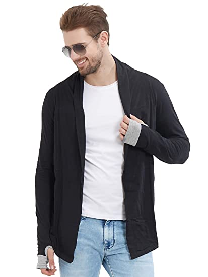 9710797c47123 LEWEL Men s Young, Stylish   Trendy Solid Black Thumb Hole Shrug Cardigan  (100%. Roll over image to zoom in