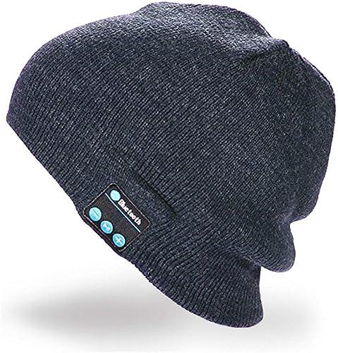 Wireless sports hats, Beanie Music Soft Warm Hat, RingRingshop hat cap with Stereo Headphone Headset Speaker Mic Hands-Free for Men Women Speaker Winter Outdoor Sport Best Gift Dark Grey