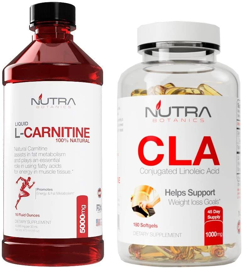 Nutra Botanics High Strength Liquid L-Carnitine 5000 Mg, 16 Oz 473 ML with CLA to Support Weight Loss Goals, Bundle