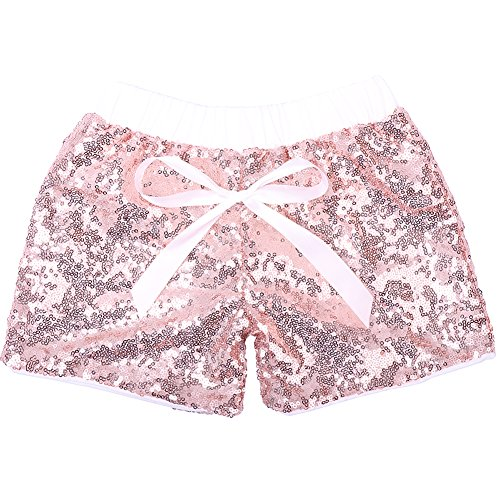Cilucu Baby Girls Shorts Toddler Sequin Shorts Sparkles on Both Sides Rose Gold/Pink 3T -