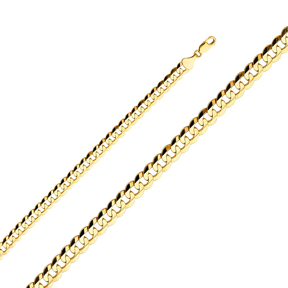 FB Jewels 14K Yellow Gold Cuban Concave Chain Necklace With Lobster Claw Clasp