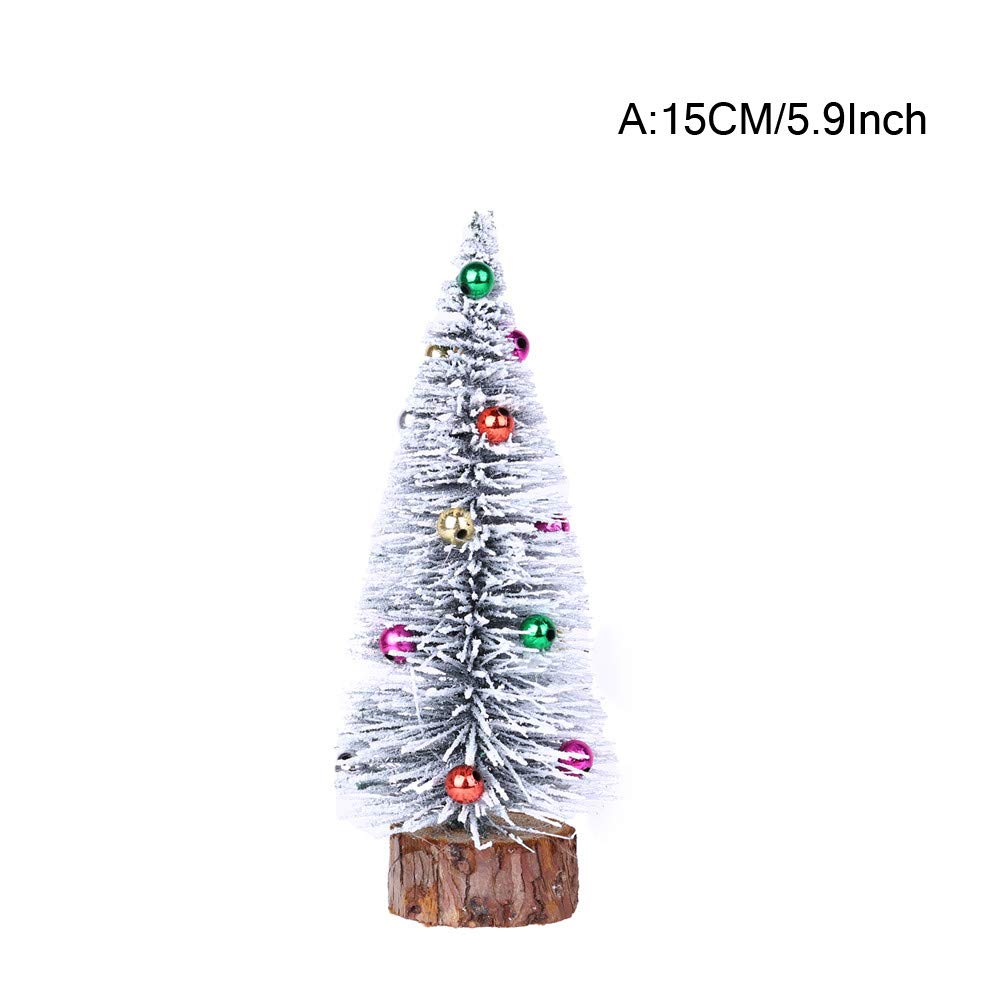 5.9'' Green Pine Tree with Wooden Base Mini Pre-Lit Flocked Christmas Tree Artificial Tabletop DIY Christmas Tree Festival Miniature Tree for Christmas Decor (A)