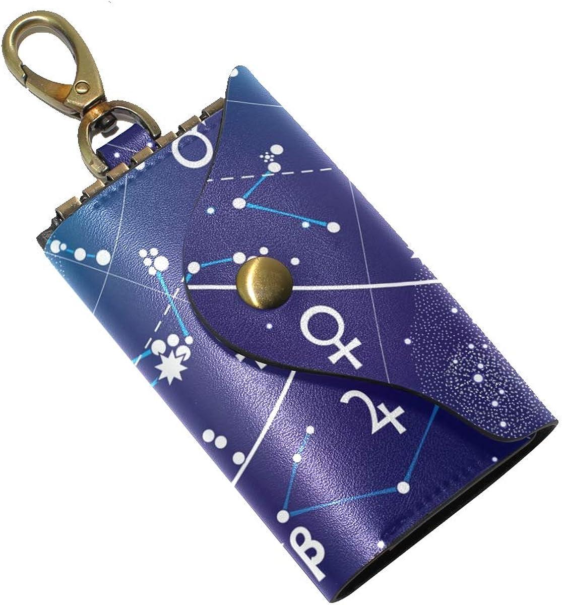 KEAKIA Fragment Of Astronomical Celestial Atlas Leather Key Case Wallets Tri-fold Key Holder Keychains with 6 Hooks 2 Slot Snap Closure for Men Women