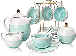 SWEEJAR Porcelain Tea Sets,8 oz Cups and Saucer Teaspoon Set of 4, with Teapot Sugar Bowl Cream Pitcher and tea strainer for Tea/Coffee,Afternoon Tea Party (Blue)