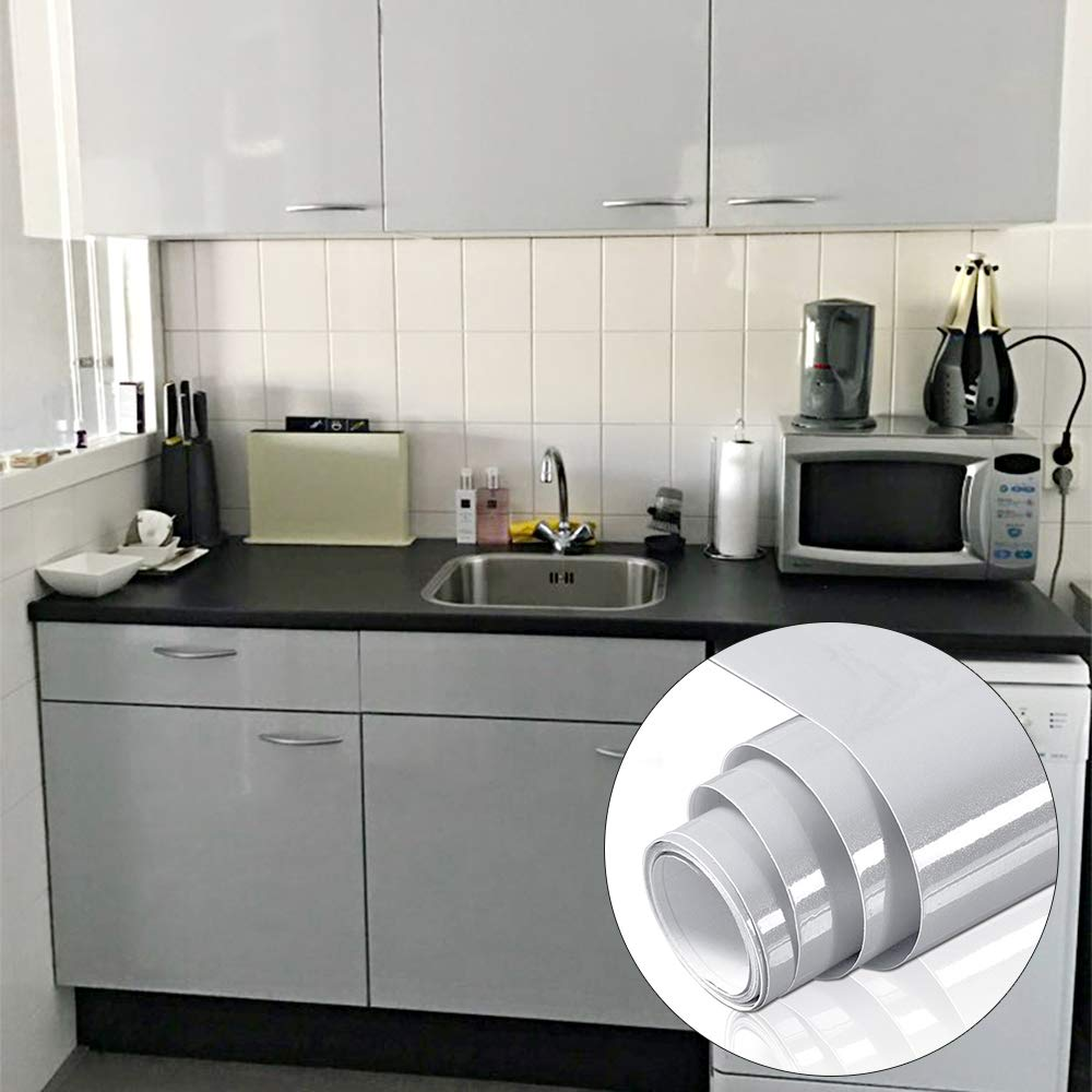 Buy Yenhome Vinyl Contact Paper Waterproof 60cm X 10m Glossy Gray Removable Self Adhesive Shelf Liner For Kitchen Cabinets Cover Wallpaper Decorative Peel And Stick Vinyl Film Online At Low Prices In